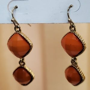 LOFT Orange Bead Earrings #488